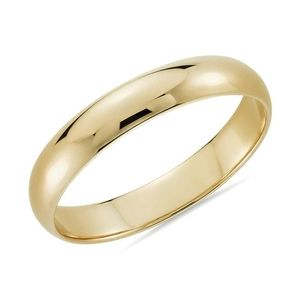 10k solid yellow gold 4mm wedding band ring
